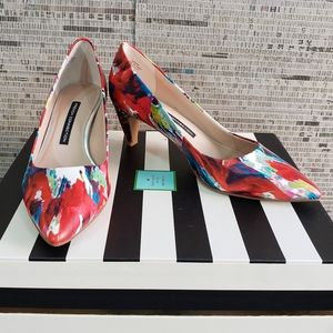 French Connection Colorful Brushstroke Cone Heels